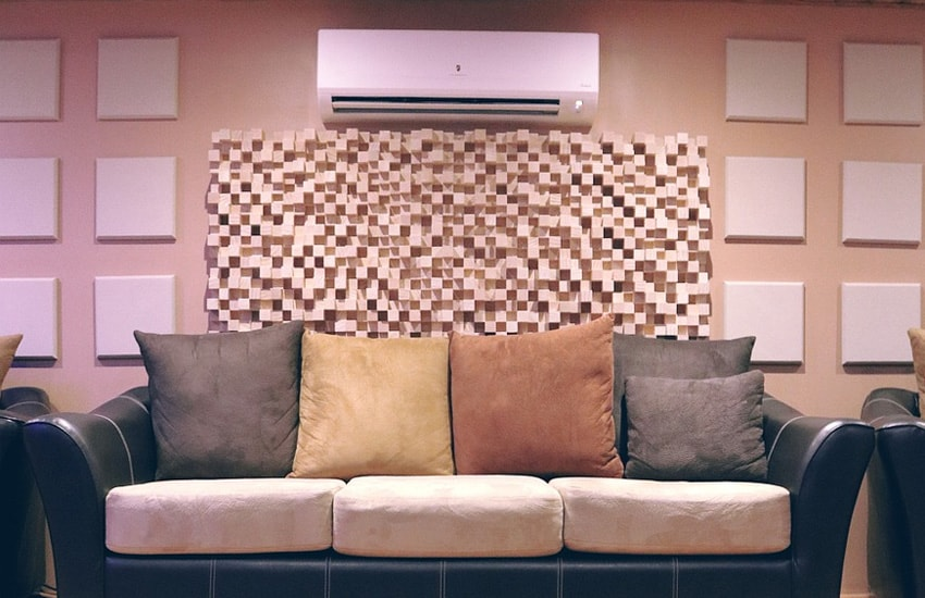 Couch with Acoustic Panels