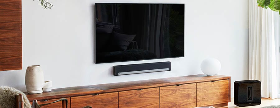 Sonos Playbar in living room with subwoofer