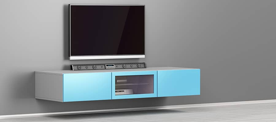 Stylish soundbar and entertainment center