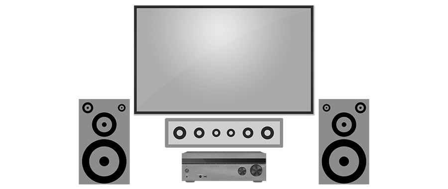 Home Theater Setup with Soundbar as a Center Channel