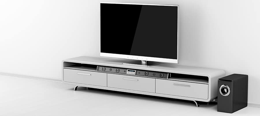 Tv and soundbar with subwoofer