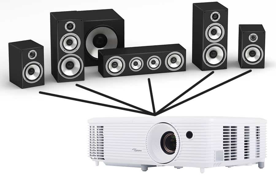 Projector Connected to Speakers