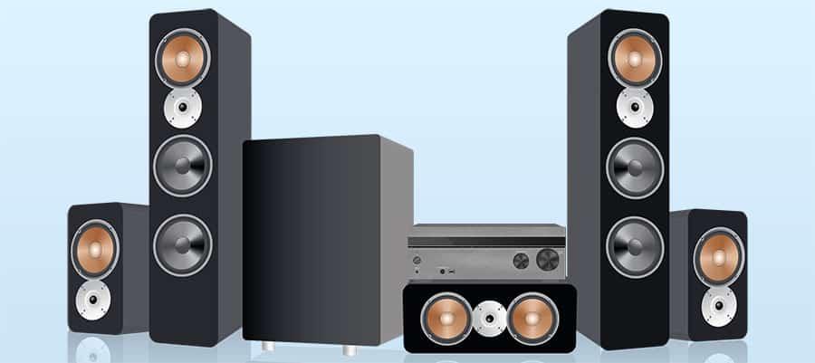 Surround Sound Speaker System with Receiver - Smaller