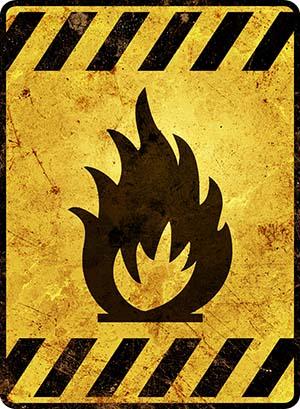 Yellow fire hazard warning sign