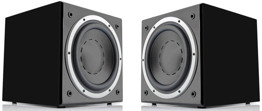 Pair of black subwoofers