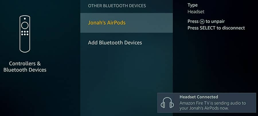 Connecting a Bluetooth Device to a Fire TV 2 - Smaller