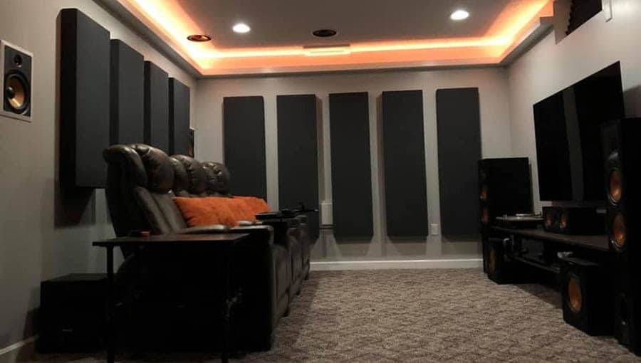 Large Acoustic Panels in a Home Theater Room 1 - Smaller