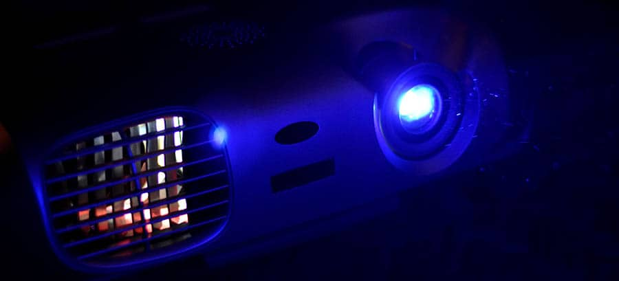 projector light in the blue night