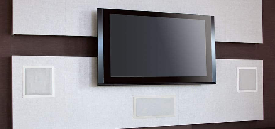 Wall Mounted TV with In-Wall Speakers