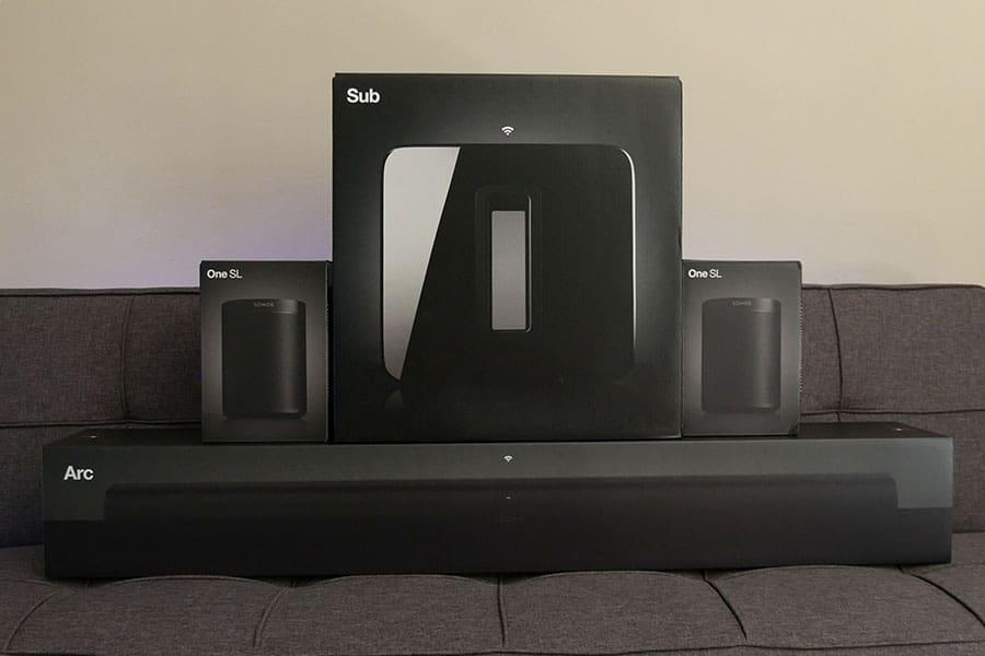 Sonos Arc, Gen3 Sub, and 2 One SLs