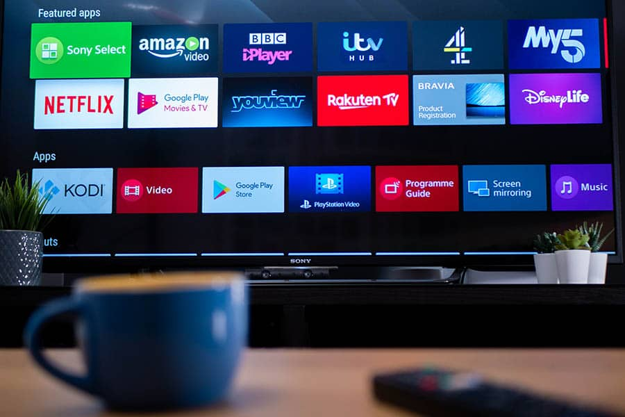 Smart TV showing featured apps on android television screen