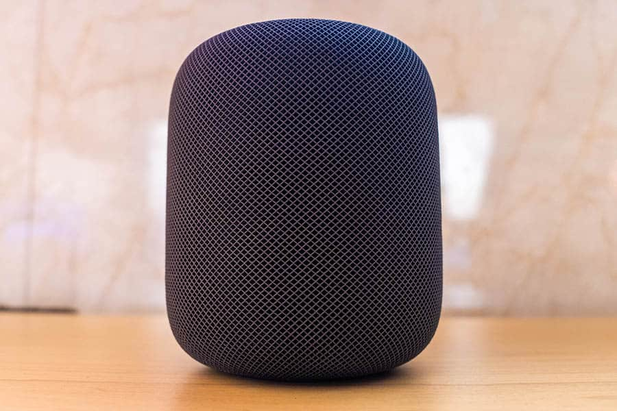 Apple HomePod on Wooden Table