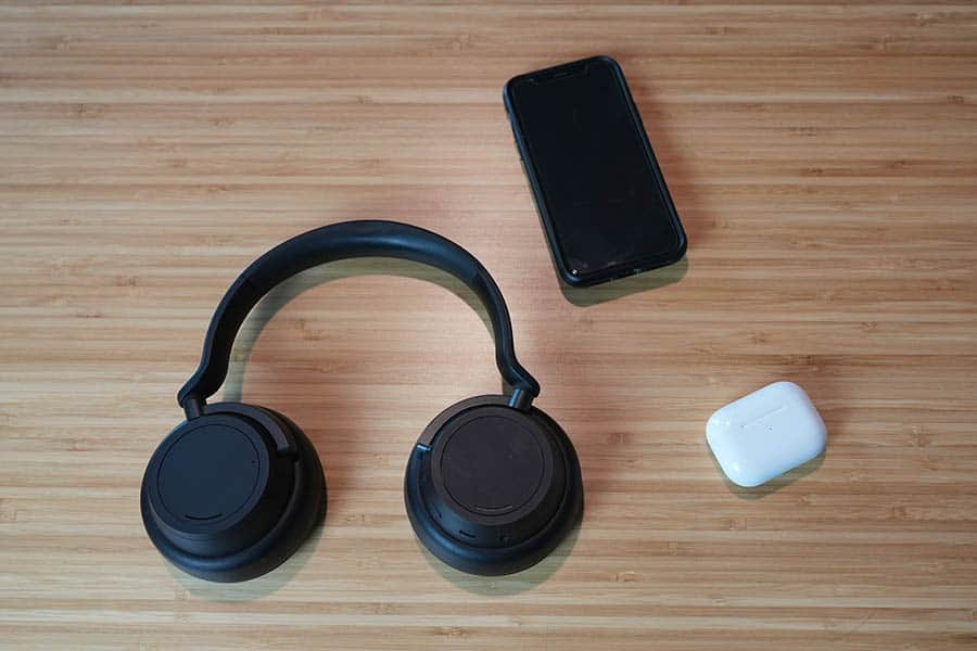iPhone 11 Pro, MS Surface Headphones 2, and AirPods Pro
