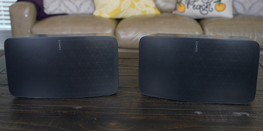 2 Sonos Five Speakers on a Coffee Table