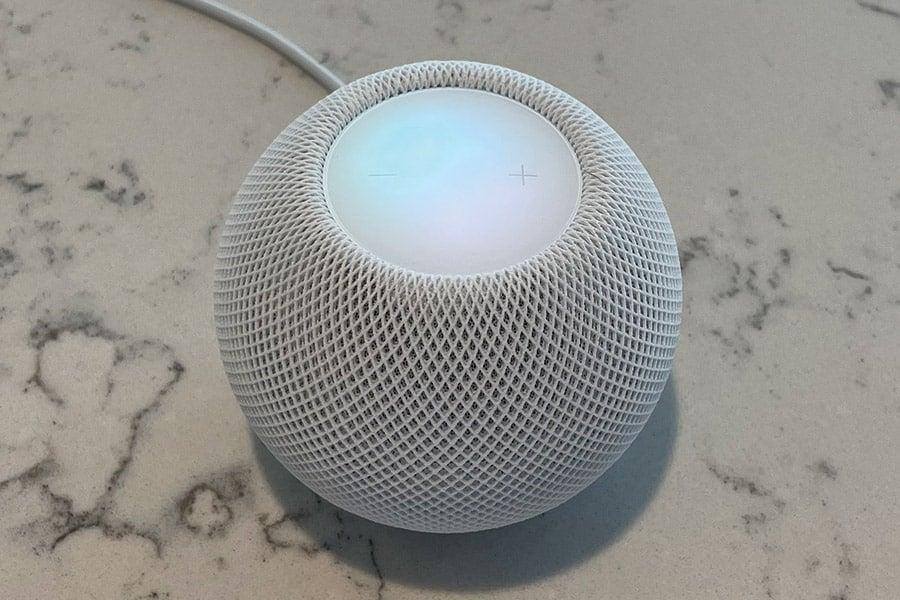 Apple HomePod Mini on a Granite Counter Top