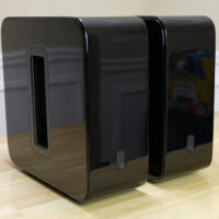 Dual Sonos Subwoofers on a Table